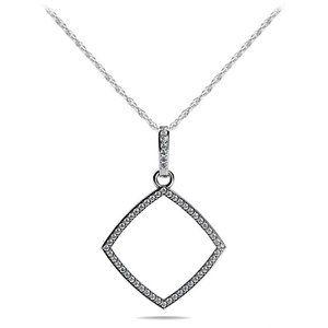4 ct round cut diamonds offset square pendant neck